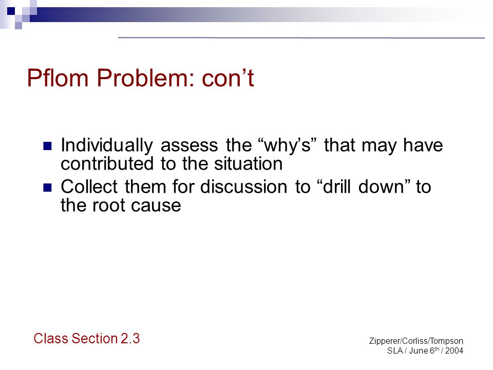 "Zipperer/Corliss/Tompson SLA / June 6 th / 2004 Pflom Problem: con't Individually assess the ""why's"" that may have contributed to the situation Collec"