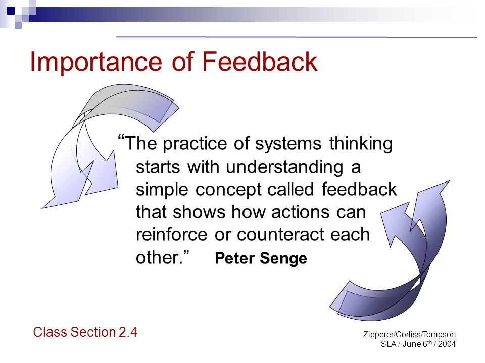 "Zipperer/Corliss/Tompson SLA / June 6 th / 2004 Importance of Feedback "" The practice of systems thinking starts with understanding a simple concept c"