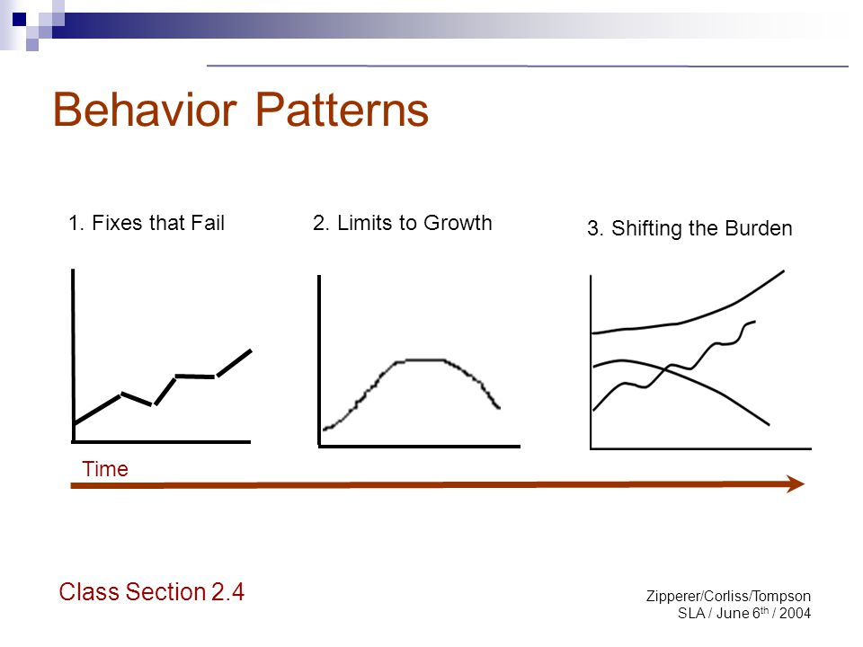 Zipperer/Corliss/Tompson SLA / June 6 th / 2004 Behavior Patterns 1. Fixes that Fail 2. Limits to Growth 3. Shifting the Burden Class Section 2.4 Time