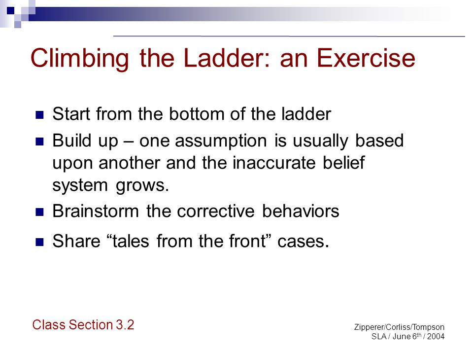 Zipperer/Corliss/Tompson SLA / June 6 th / 2004 Climbing the Ladder: an Exercise Start from the bottom of the ladder Build up – one assumption is usua
