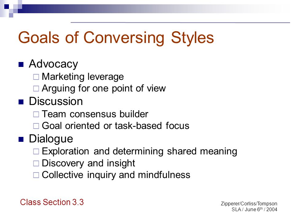 Zipperer/Corliss/Tompson SLA / June 6 th / 2004 Goals of Conversing Styles Advocacy  Marketing leverage  Arguing for one point of view Discussion 