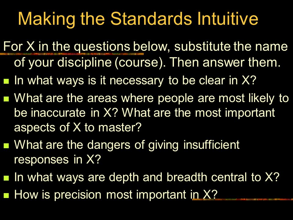 Making the Standards Intuitive For X in the questions below, substitute the name of your discipline (course).