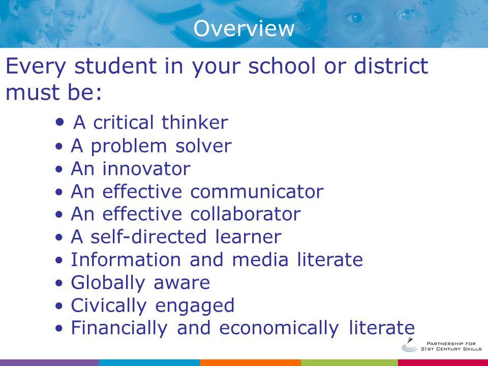 Thinking and Learning Skills Critical Thinking & Problem Solving Skills Creativity & Innovation Skills Communication & Information Skills Collaboration Skills 21 st Century Skills Framework