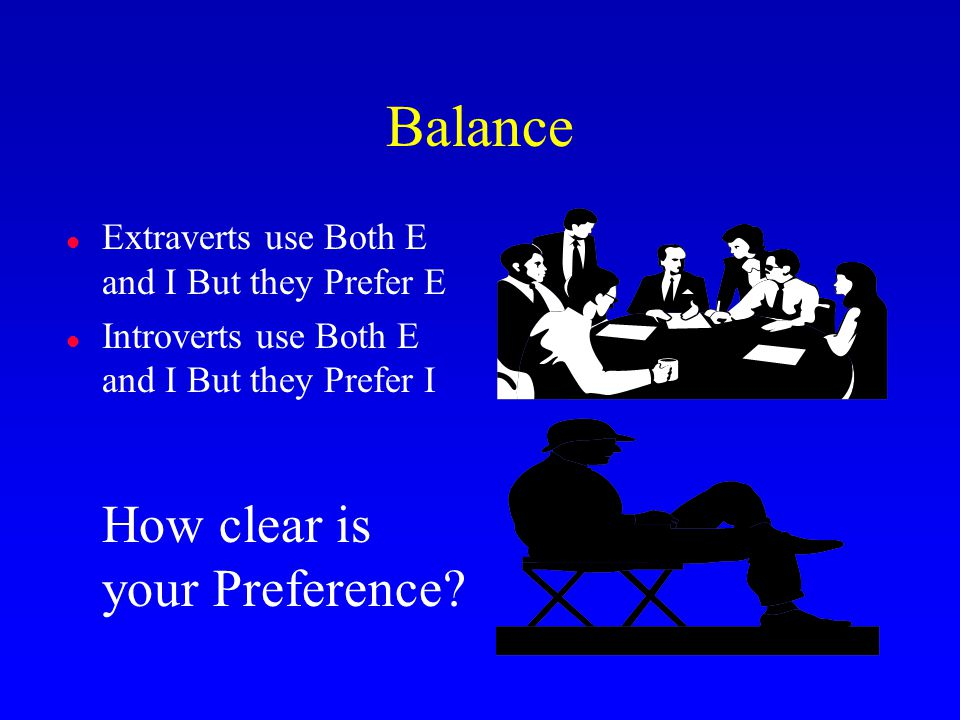 Balance l Extraverts use Both E and I But they Prefer E l Introverts use Both E and I But they Prefer I How clear is your Preference?