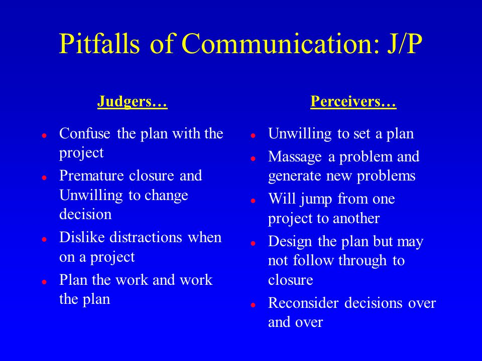 Pitfalls of Communication: J/P l Confuse the plan with the project l Premature closure and Unwilling to change decision l Dislike distractions when on a project l Plan the work and work the plan l Unwilling to set a plan l Massage a problem and generate new problems l Will jump from one project to another l Design the plan but may not follow through to closure l Reconsider decisions over and over Judgers…Perceivers…