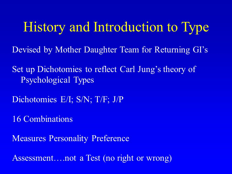 History and Introduction to Type Devised by Mother Daughter Team for Returning GI's Set up Dichotomies to reflect Carl Jung's theory of Psychological