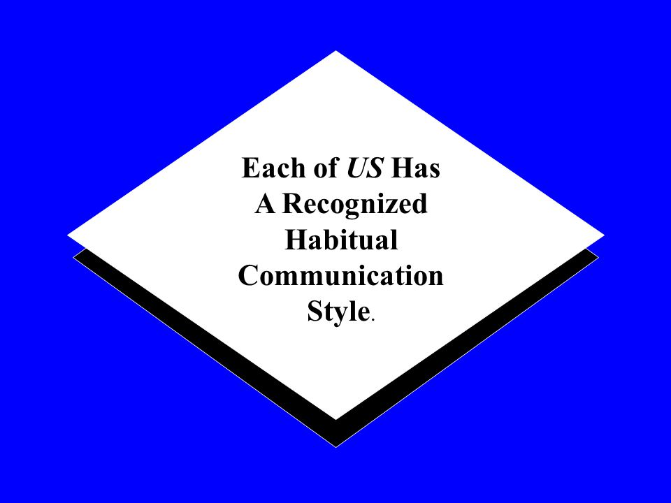 Each of US Has A Recognized Habitual Communication Style.