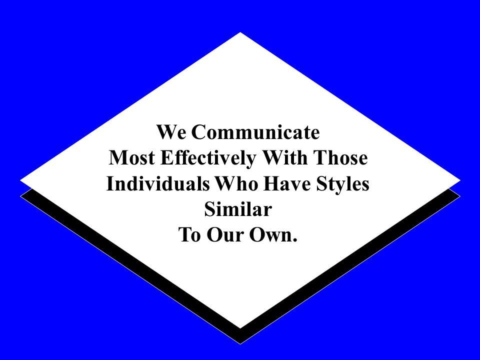 We Communicate Most Effectively With Those Individuals Who Have Styles Similar To Our Own.