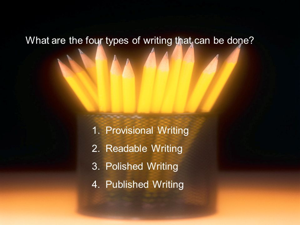 What are the four types of writing that can be done? 1. Provisional Writing 2. Readable Writing 3. Polished Writing 4. Published Writing