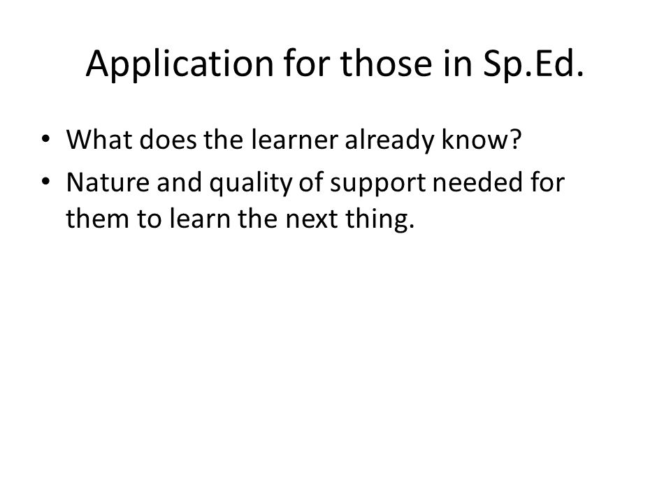 Application for those in Sp.Ed. What does the learner already know.