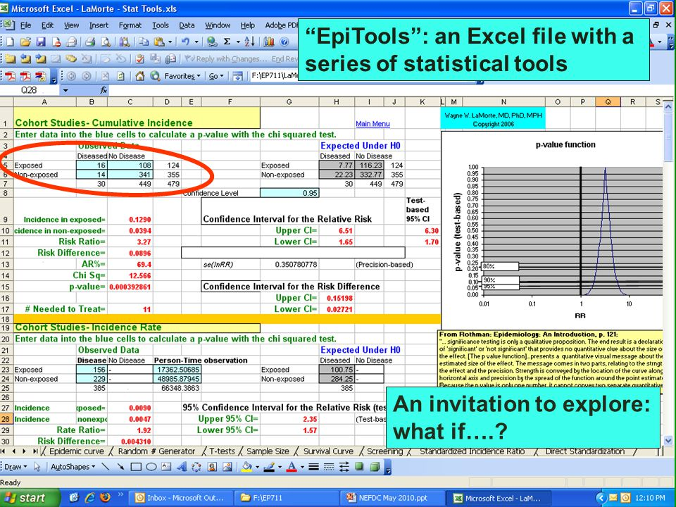 EpiTools : an Excel file with a series of statistical tools An invitation to explore: what if….