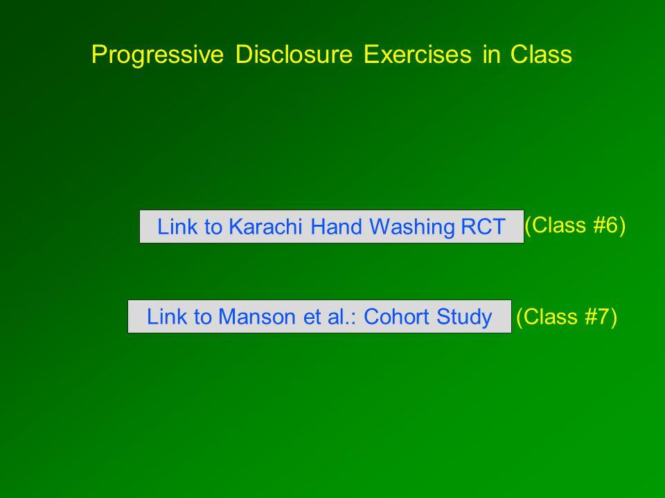Progressive Disclosure Exercises in Class Link to Manson et al.: Cohort Study Link to Karachi Hand Washing RCT (Class #7) (Class #6)