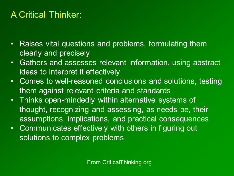 Relevant Questions for Critical Thinkers: What is the most fundamental issue here.