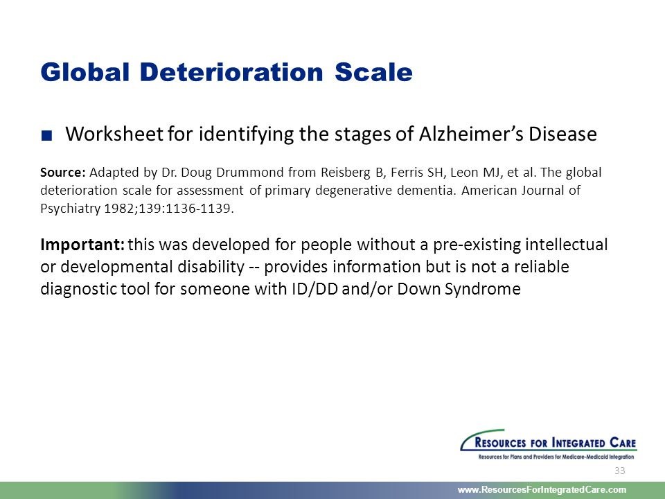 www.ResourcesForIntegratedCare.com 33 ■ Worksheet for identifying the stages of Alzheimer's Disease Source: Adapted by Dr. Doug Drummond from Reisberg