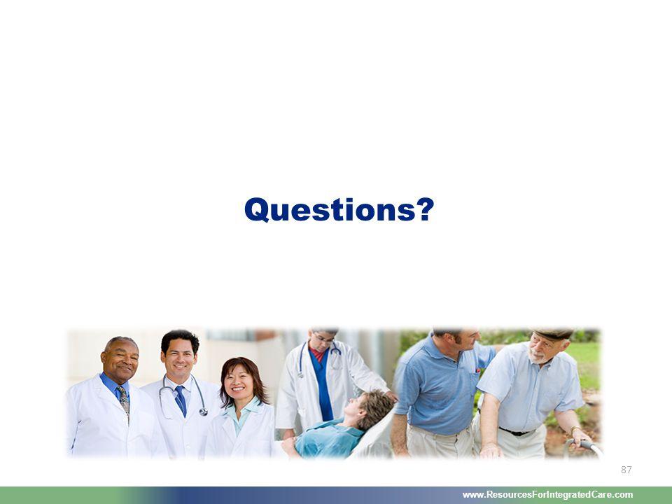 www.ResourcesForIntegratedCare.com 87 Questions?