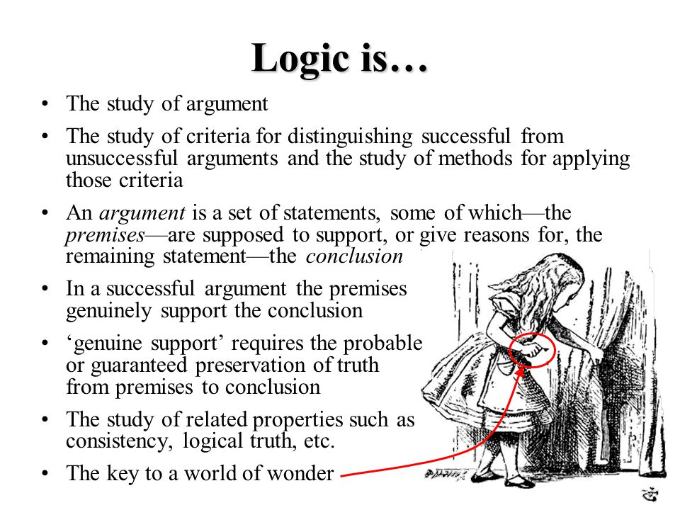 Logic is… The study of argument The study of criteria for distinguishing successful from unsuccessful arguments and the study of methods for applying those criteria An argument is a set of statements, some of which—the premises—are supposed to support, or give reasons for, the remaining statement—the conclusion In a successful argument the premises genuinely support the conclusion 'genuine support' requires the probable or guaranteed preservation of truth from premises to conclusion The study of related properties such as consistency, logical truth, etc.