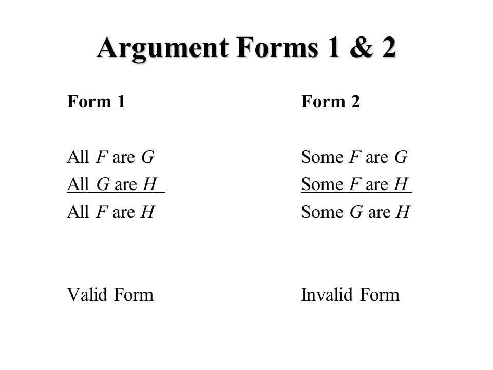 Argument Forms 1 & 2 Form 1 All F are G All G are H All F are H Valid Form Form 2 Some F are G Some F are H Some G are H Invalid Form