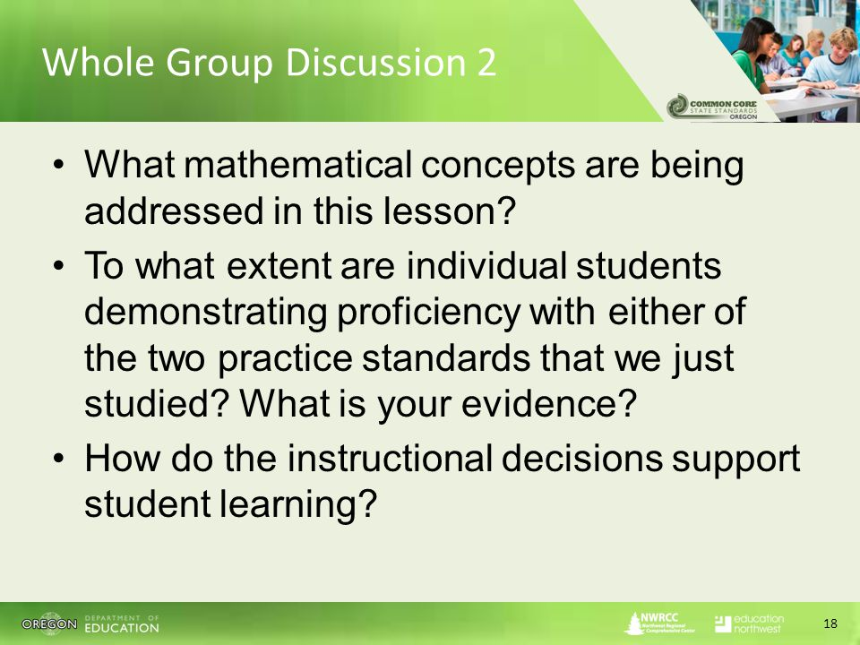Whole Group Discussion 2 What mathematical concepts are being addressed in this lesson.