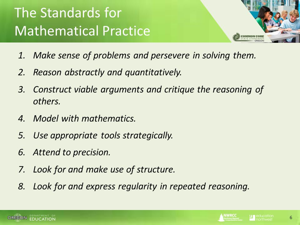 The Standards for Mathematical Practice 1.Make sense of problems and persevere in solving them.