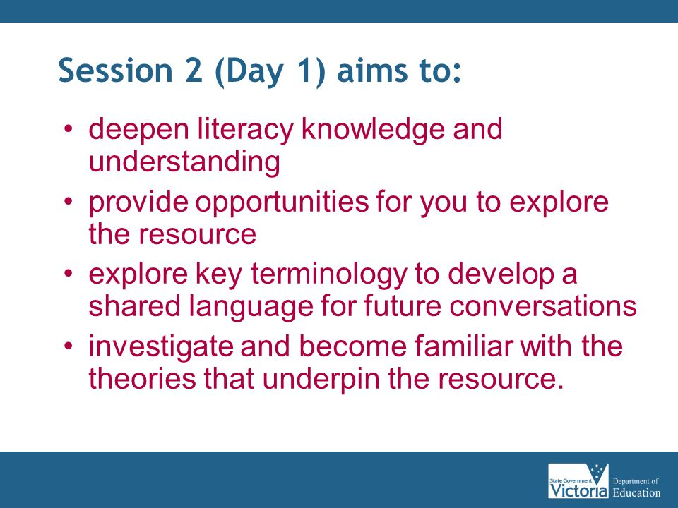 Session 2 (Day 1) aims to: deepen literacy knowledge and understanding provide opportunities for you to explore the resource explore key terminology to develop a shared language for future conversations investigate and become familiar with the theories that underpin the resource.