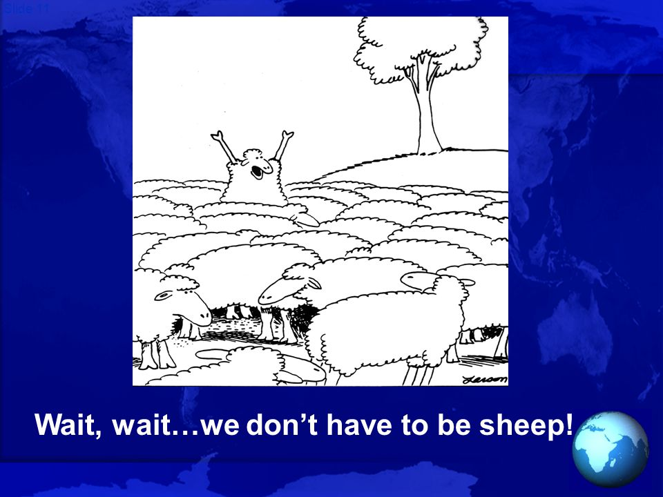 Slide 11 Wait, wait…we don't have to be sheep!