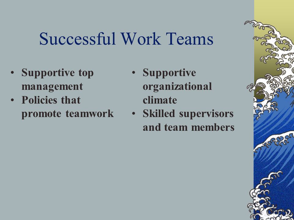 Successful Work Teams Supportive top management Policies that promote teamwork Supportive organizational climate Skilled supervisors and team members