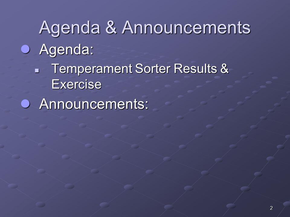 2 Agenda & Announcements Agenda: Agenda: Temperament Sorter Results & Exercise Temperament Sorter Results & Exercise Announcements: Announcements: