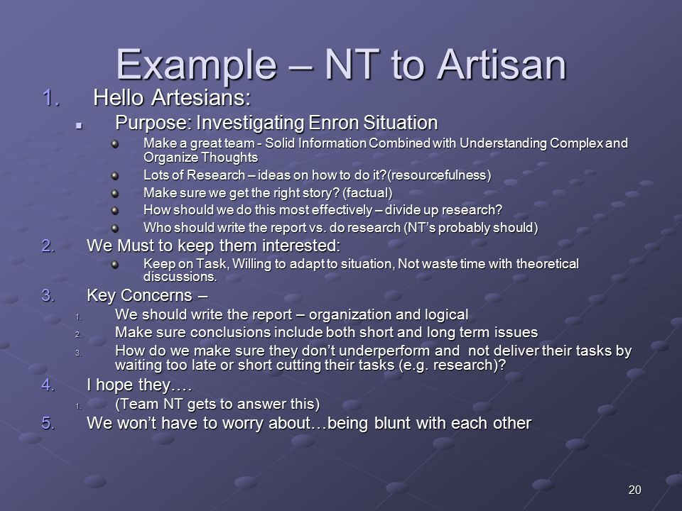 20 Example – NT to Artisan 1.