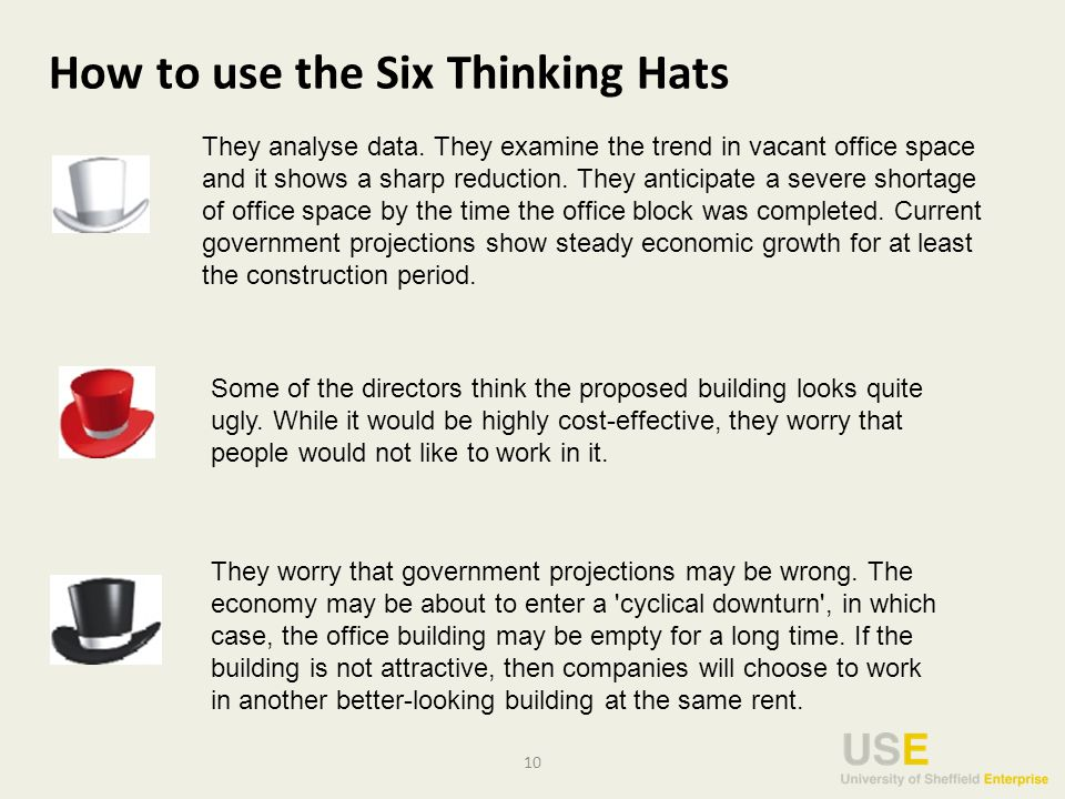 10 How to use the Six Thinking Hats They analyse data.