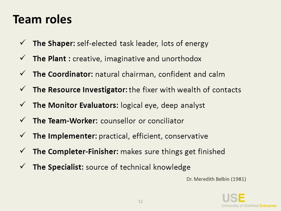 12 Team roles The Shaper: self-elected task leader, lots of energy The Plant : creative, imaginative and unorthodox The Coordinator: natural chairman, confident and calm The Resource Investigator: the fixer with wealth of contacts The Monitor Evaluators: logical eye, deep analyst The Team-Worker: counsellor or conciliator The Implementer: practical, efficient, conservative The Completer-Finisher: makes sure things get finished The Specialist: source of technical knowledge Dr.
