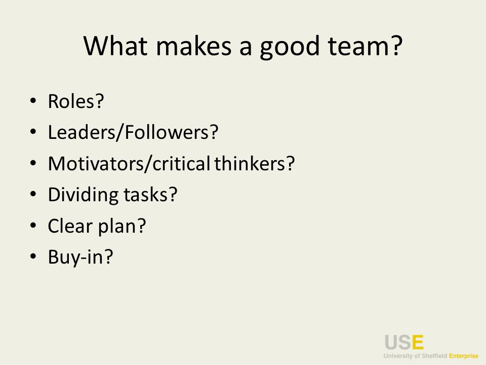 What makes a good team. Roles. Leaders/Followers.