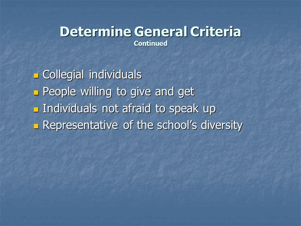 Determine General Criteria Continued Collegial individuals Collegial individuals People willing to give and get People willing to give and get Individ