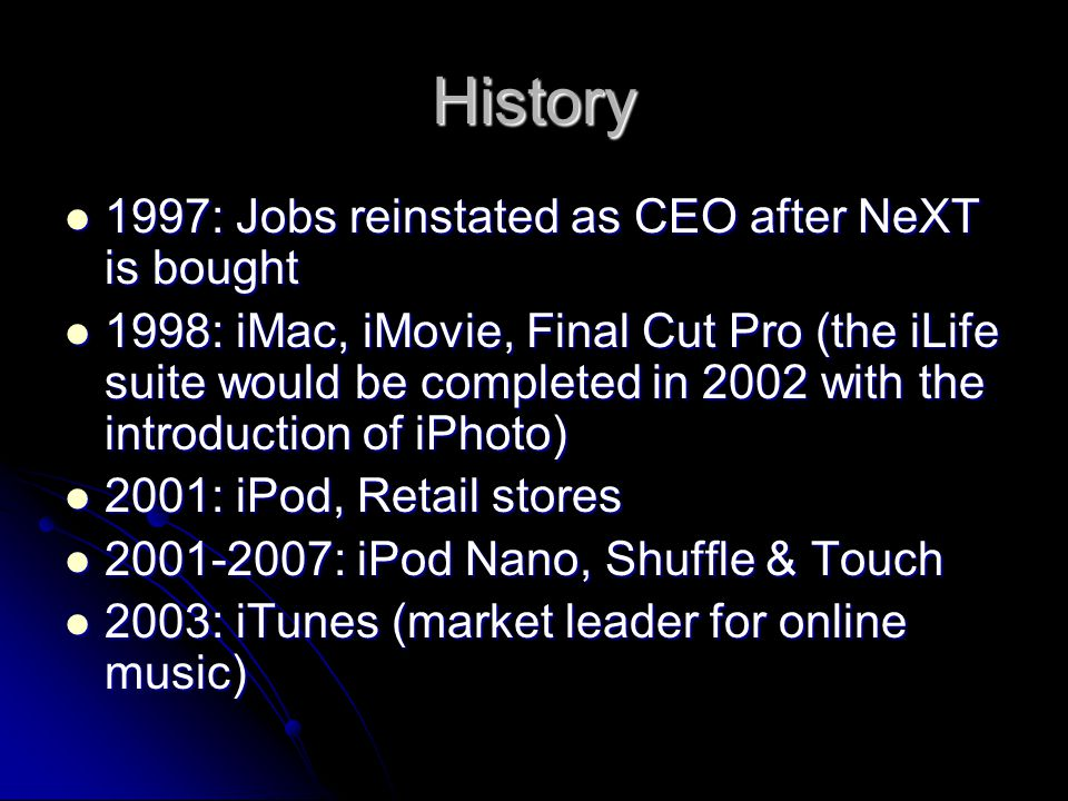 History 2005-2007: Intel chips used in Mac Pro and MacBook Pro, while Power Mac, iBook and Powerbook were retired 2005-2007: Intel chips used in Mac Pro and MacBook Pro, while Power Mac, iBook and Powerbook were retired 2007: iPhone, Apple TV, removed Computer from corporate name 2007: iPhone, Apple TV, removed Computer from corporate name 2010: iPad 2010: iPad