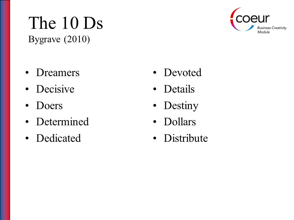The 10 Ds Bygrave (2010) Dreamers Decisive Doers Determined Dedicated Devoted Details Destiny Dollars Distribute