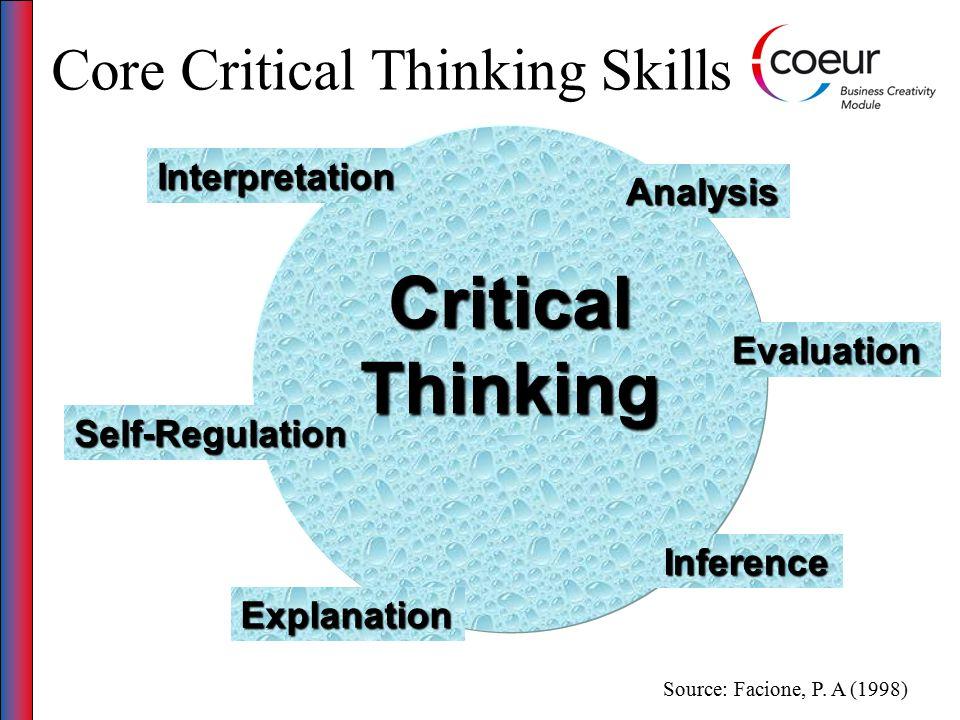 Core Critical Thinking Skills Critical Thinking Analysis Explanation Interpretation Evaluation Self-Regulation Inference Source: Facione, P.