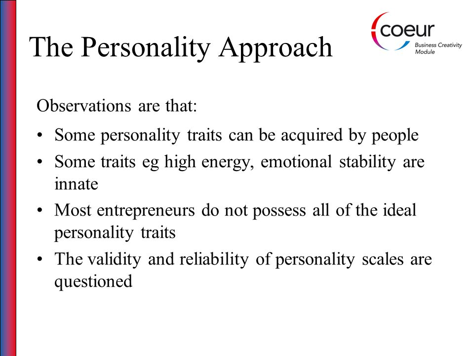 The Personality Approach Entrepreneurs are not homogenous Gender, age, social class, nationality and education make a difference Environment and cultural influences must also be taken into account Entrepreneurial decision making is based on the interaction of many factors (motivations, stage in life cycle, personal economic context)