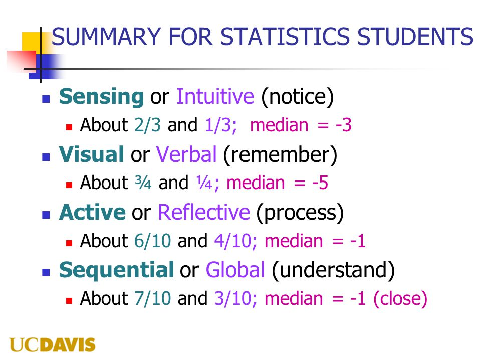 SUMMARY FOR STATISTICS STUDENTS Sensing or Intuitive (notice) About 2/3 and 1/3; median = -3 Visual or Verbal (remember) About ¾ and ¼; median = -5 Active or Reflective (process) About 6/10 and 4/10; median = -1 Sequential or Global (understand) About 7/10 and 3/10; median = -1 (close)