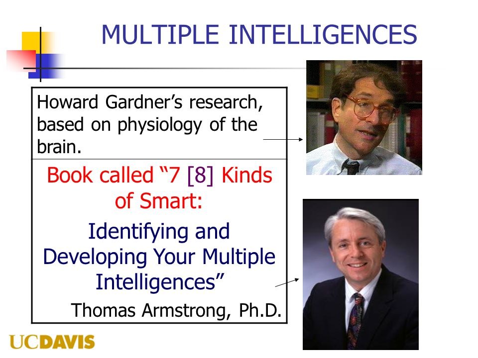 "MULTIPLE INTELLIGENCES Howard Gardner's research, based on physiology of the brain. Book called ""7 [8] Kinds of Smart: Identifying and Developing Your"