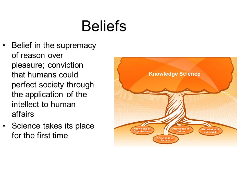 Beliefs Belief in Progress –Through reason a better society was possible –through progress we would continue to expand our knowledge in the sciences Secular Outlook –More worldly view of life –church is continuing to lose power –questioning of all church beliefs Importance Of the Individual –own ability to reason –importance of the in society –Individual achievement