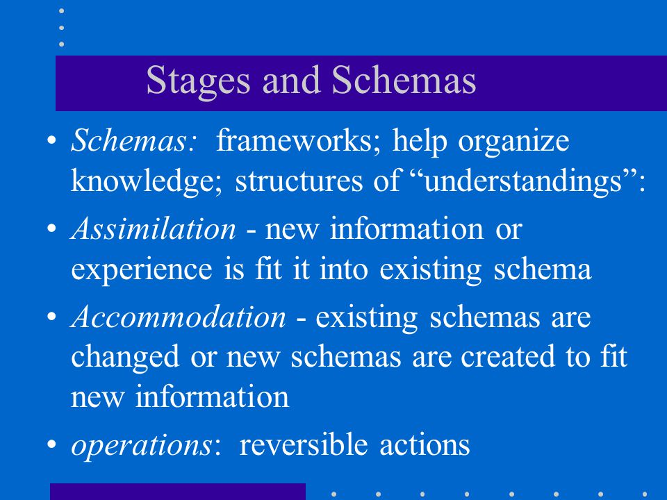 """Stages and Schemas Schemas: frameworks; help organize knowledge; structures of """"understandings"""": Assimilation - new information or experience is fit i"""