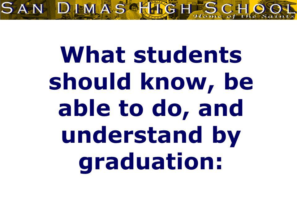 Communicator ESLR San Dimas High School graduates will be effective oral, written, artistic, mathematical, and technological communicators.
