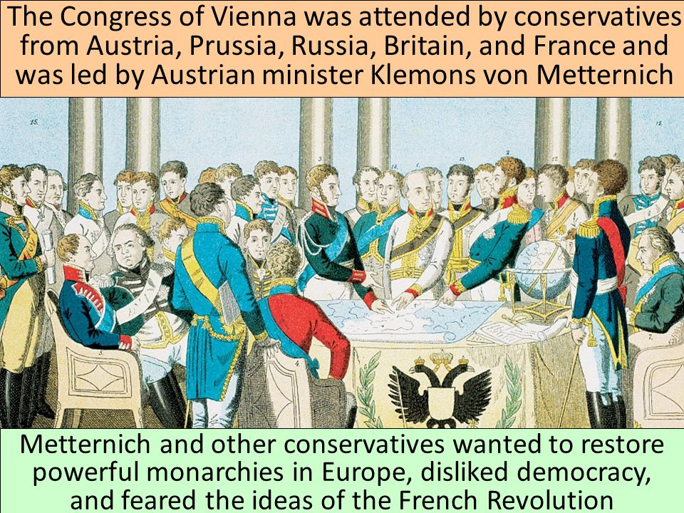 After the fall of Napoleon in 1815, European leaders met at the Congress of Vienna to restore a balance of power in Europe