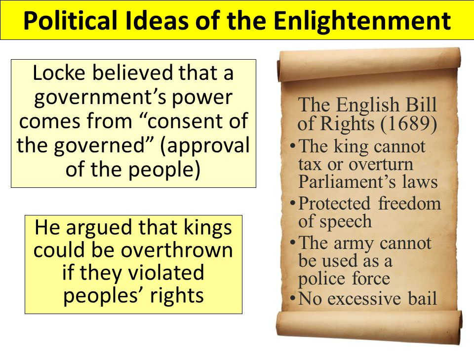 John Locke said that the purpose of government was to protect citizens' natural rights Locke believed that people are born with natural rights: rights