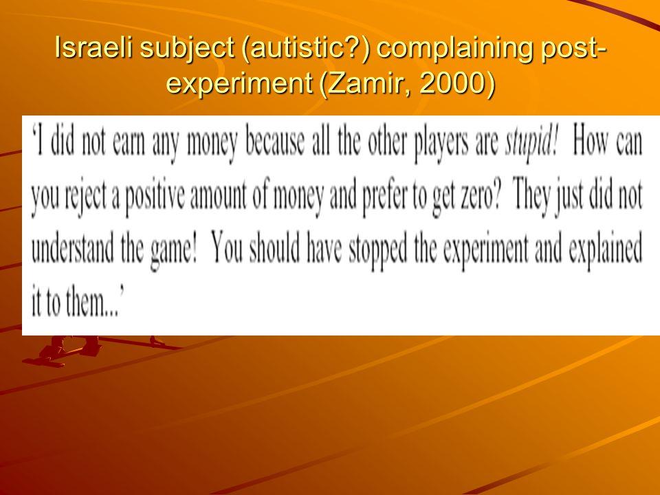Israeli subject (autistic ) complaining post- experiment (Zamir, 2000)