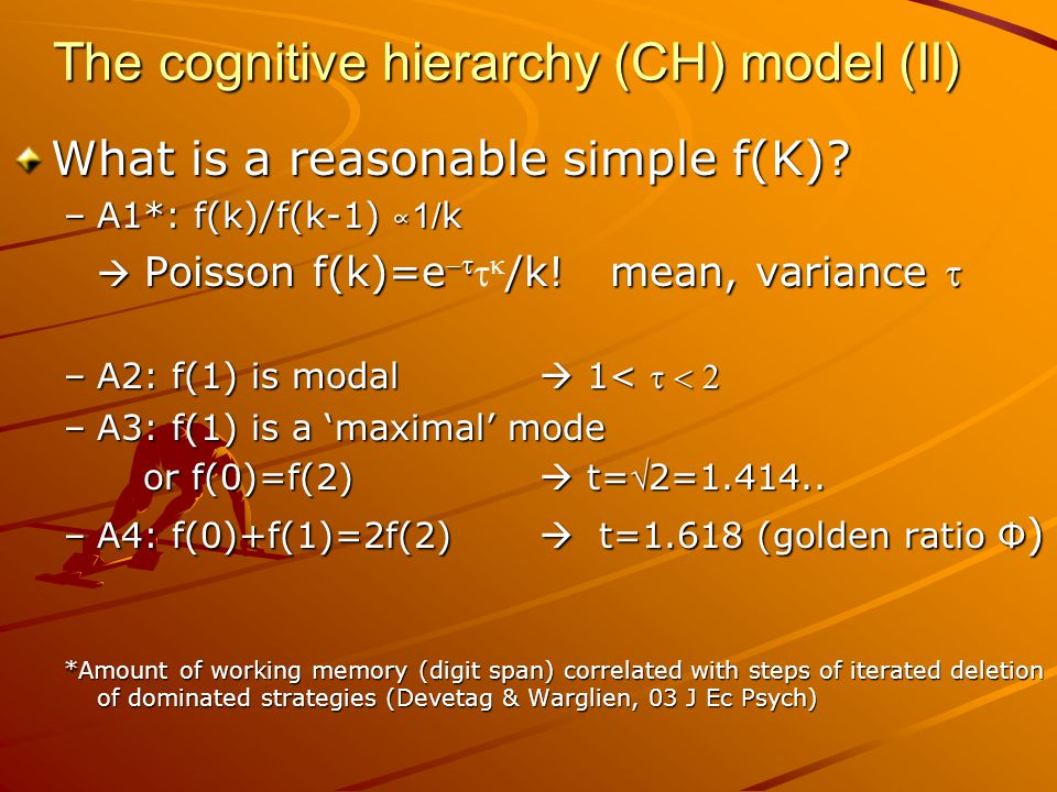 The cognitive hierarchy (CH) model (II) What is a reasonable simple f(K).