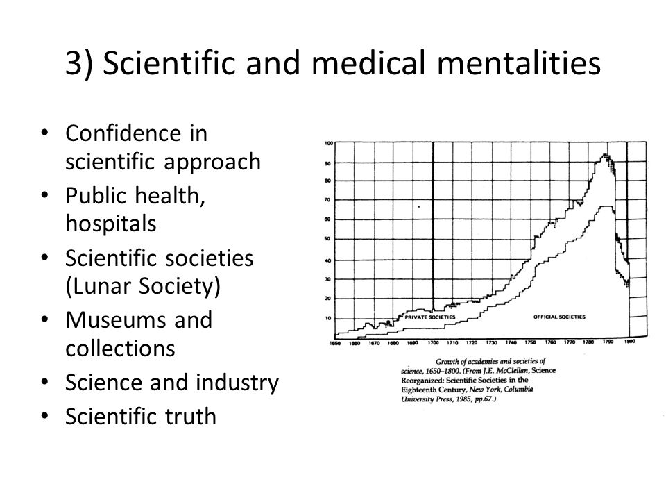 3) Scientific and medical mentalities Confidence in scientific approach Public health, hospitals Scientific societies (Lunar Society) Museums and coll