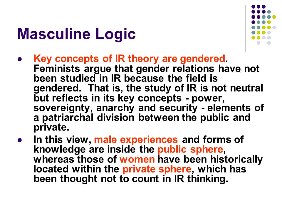 Masculine Logic Key concepts of IR theory are gendered. Feminists argue that gender relations have not been studied in IR because the field is gendere