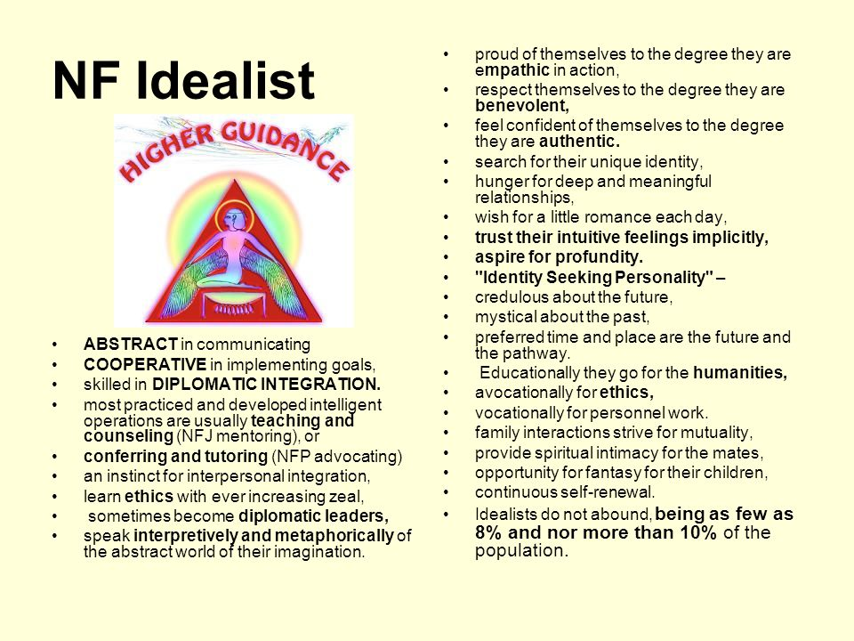 NF Idealist ABSTRACT in communicating COOPERATIVE in implementing goals, skilled in DIPLOMATIC INTEGRATION.
