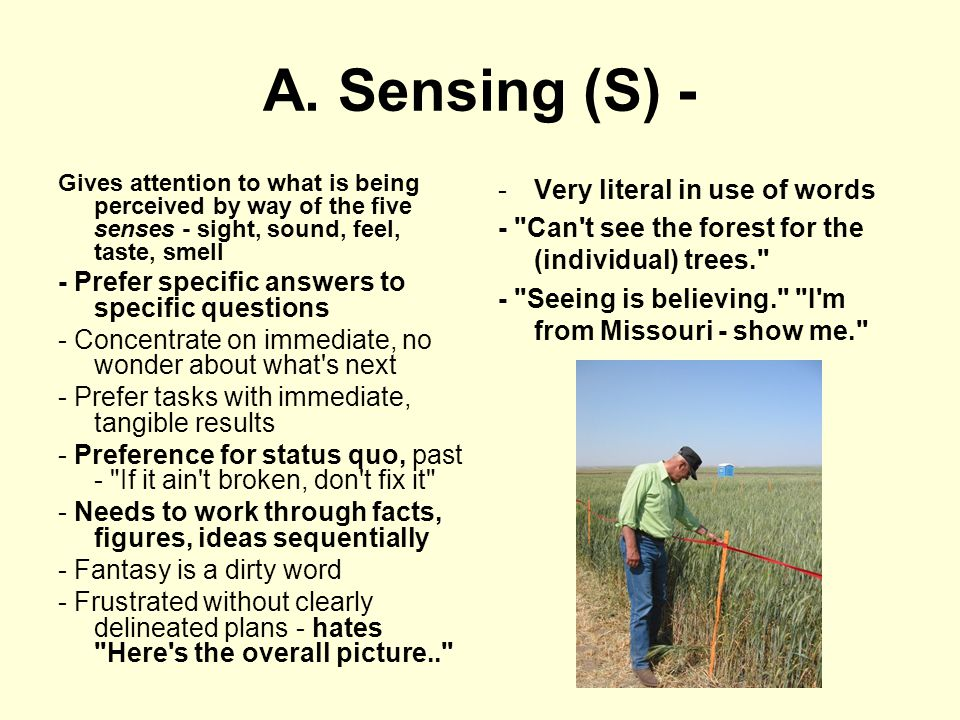 A. Sensing (S) - Gives attention to what is being perceived by way of the five senses - sight, sound, feel, taste, smell - Prefer specific answers to