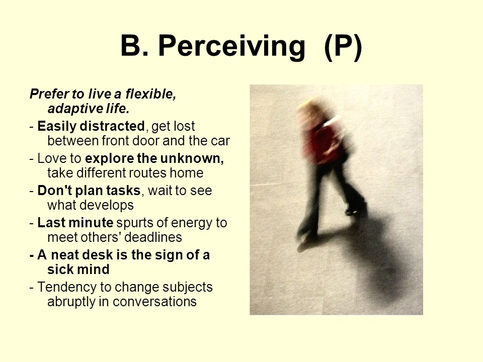 B. Perceiving (P) Prefer to live a flexible, adaptive life.